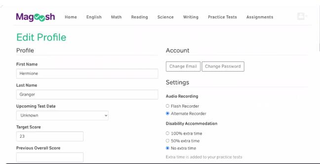 Maggosh-Student Dashboard-Edit Profile