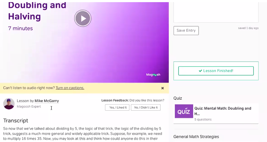 Magoosh - Student Dashboard - Math Video