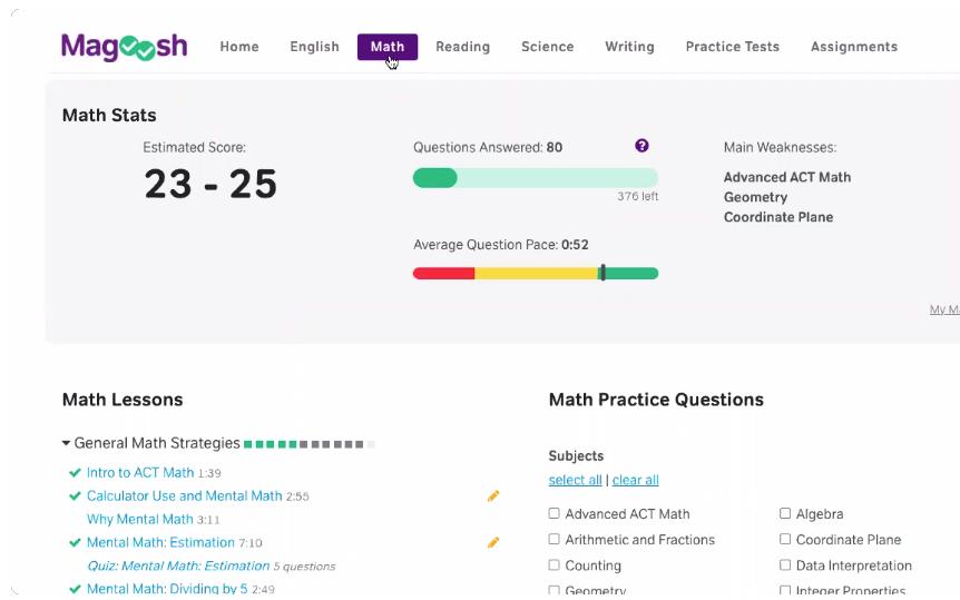 Magoosh - Student Dashboard - Math