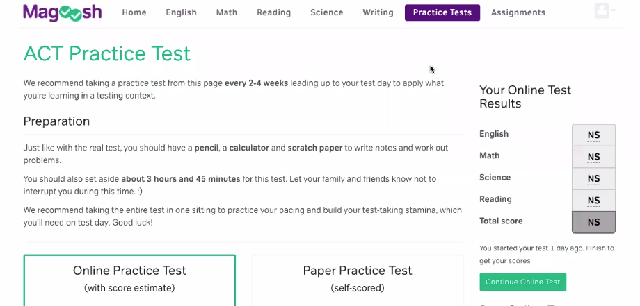 Magoosh - Student Dashboard - Practice Test