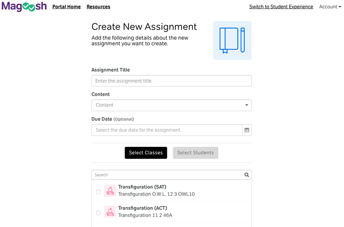 Assignments Tab